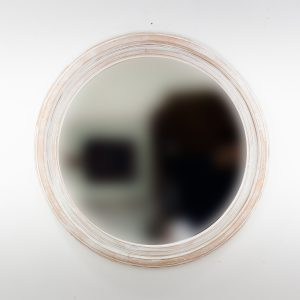 Espejo de pared decorativo Round Polos Blanco (envejecido) de 80cm.