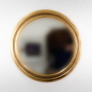 Espejo decorativo de madera Round Polos de 80x80 en Oro (envejecido)