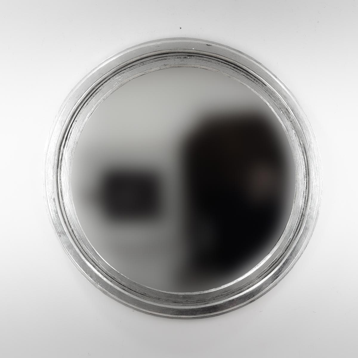 Espejo round polos plata envejecida mirococ for Espejo madera envejecida