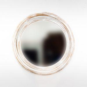 Espejo de pared decorativo Round Polos Blanco (envejecido) de 60cm.