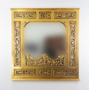 Espejo de pared decorativo Nanas Teca Oro (envejecido) de 100cm.