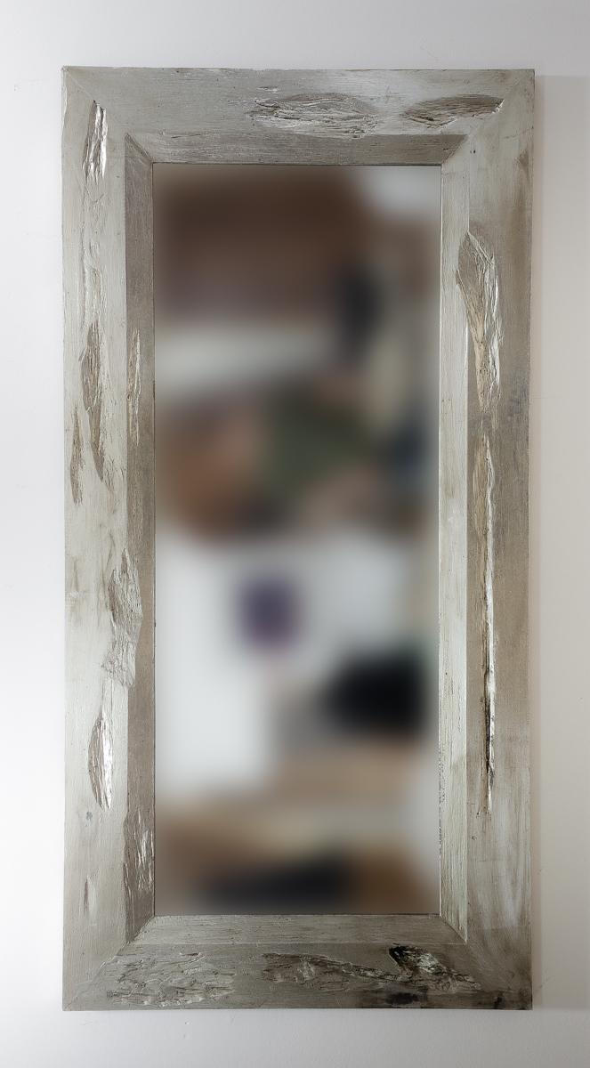Espejo decorativo de pared de 100x200 plata envejecida for Espejo madera envejecida