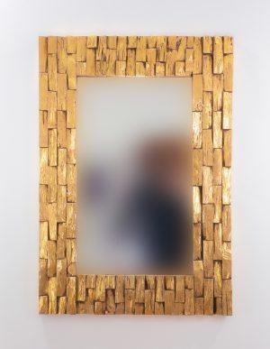 Espejo de pared decorativo Catak Bendy Oro (envejecido) de 100cm.