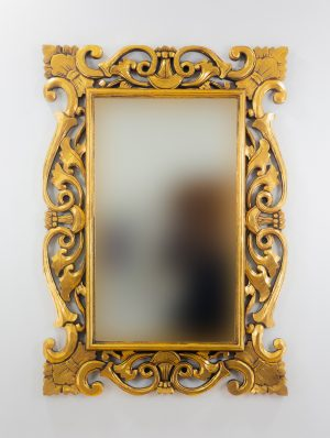 Espejo de pared decorativo Tanduk Oro (envejecido) de 100cm.