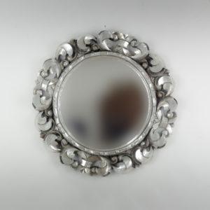 Espejo decorativo de madera Tommy circle de 60x60cm en Plata (envejecida)