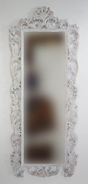 Espejo de pared decorativo German Carving Blanco (envejecido) de 170cm.