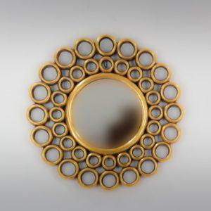 Espejo de pared decorativo Gold Chaine Circle Oro (envejecido) de 50cm.