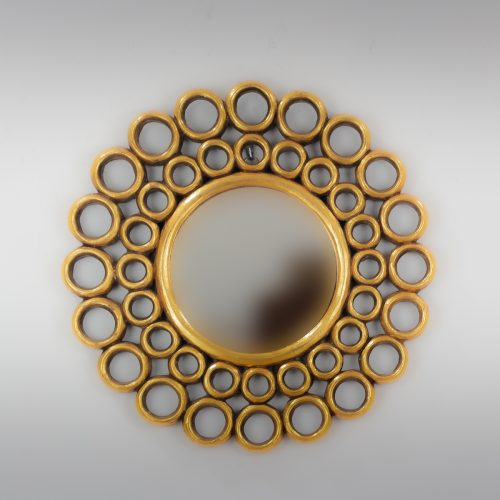 Espejo de pared decorativo Gold Chaine Circle Oro (envejecido) de 50cm.