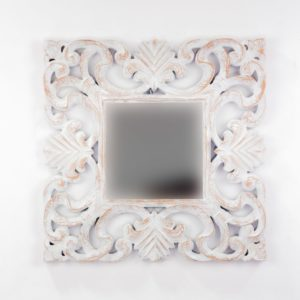 Espejo de pared decorativo Daphine Blanco (envejecido) de 50cm.