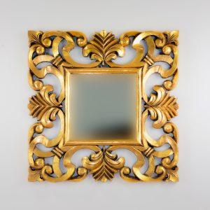 Espejo de pared decorativo Daphine Oro (envejecido) de 50cm.