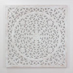 Mandala cuadrado decorativo Decowall Small de 100x100 en Blanco decapado