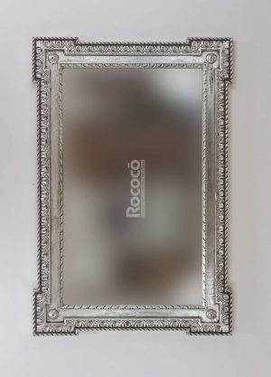 Espejo de pared decorativo Profile carved Plata (envejecida) de 150cm.