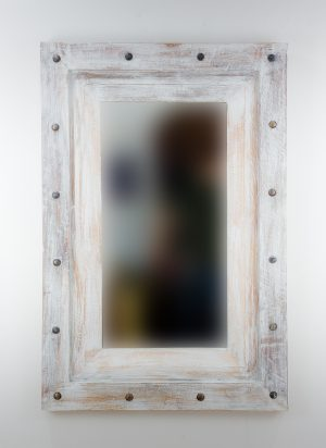 Espejo de pared decorativo Flat Miring Plinkut Blanco (envejecido) de 120cm.