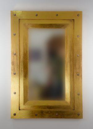 Espejo de pared decorativo Flat Miring Plinkut Oro (envejecido) de 120cm.