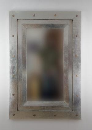 Espejo de pared decorativo Flat Miring Plinkut Plata (envejecida) de 120cm.