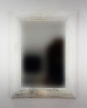 Espejo de pared decorativo Bamboo Garis Blanco (envejecido) de 80cm.