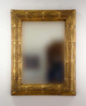 Espejo de pared decorativo Bamboo Garis Oro (envejecido) de 80cm.