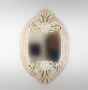 Espejo de pared decorativo Oval Carved Selem Pan de oro de 90cm.