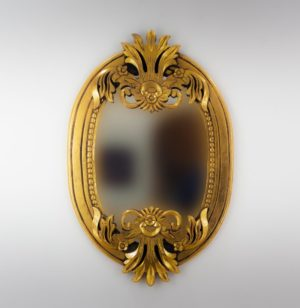 Espejo de pared decorativo Oval Carved Selem Oro (envejecido) de 90cm.