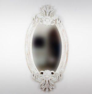 Espejo de pared decorativo Oval Carved Selem Blanco (envejecido) de 120cm.