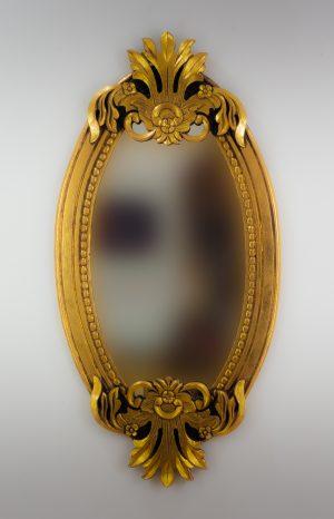 Espejo de pared decorativo Oval Carved Selem Oro (envejecido) de 120cm.
