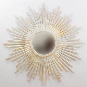 Espejo decorativo de madera Sunblast wide de 120x120 en blanco y pan de oro