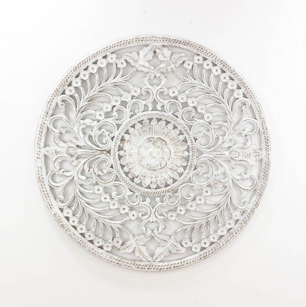 Espejo de pared decorativo Decowall Round Blanco (envejecido) de 100cm.
