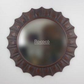 Espejo de pared decorativo Round Surya Brownie de 120cm.