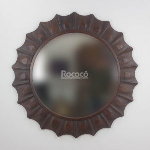 Espejo de pared decorativo Round Surya Brownie de 120cm.
