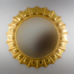 Espejo de pared decorativo Round Surya Oro (envejecido) de 120cm.