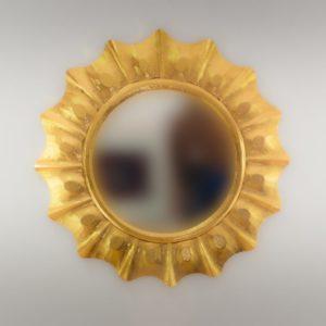 Espejo de pared decorativo Round Surya Oro (envejecido) de 80cm.