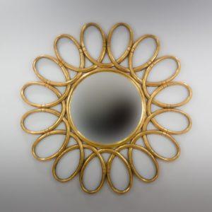 Espejo de pared decorativo Margarite Rounded Oro (envejecido) de 120cm.