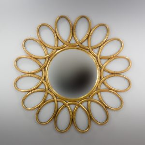 Espejo de pared decorativo Margarite Rounded Oro (envejecido) de 120cm.