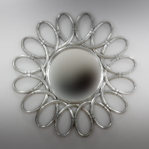 Espejo de pared decorativo Margarite Rounded Plata (envejecida) de 120cm.