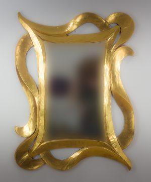 Espejo de pared decorativo Urban Hair Oro (envejecido) de 120cm.