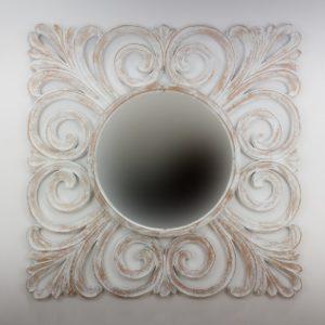 Espejo de pared decorativo Bury Shine Blanco (envejecido) de 120cm.