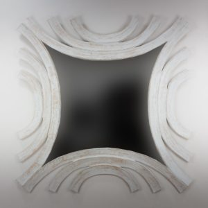 Espejo de pared decorativo Circles wave Blanco (envejecido) de 120cm.