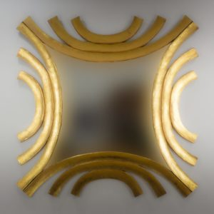 Espejo de pared decorativo Circles wave Oro (envejecido) de 120cm.