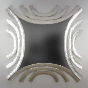 Espejo de pared decorativo Circles wave Plata (envejecida) de 120cm.