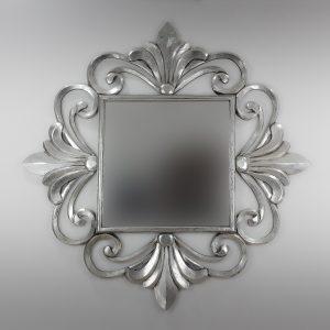 Espejo de pared decorativo Lisboa Mirror Plata (envejecida) de 120cm.