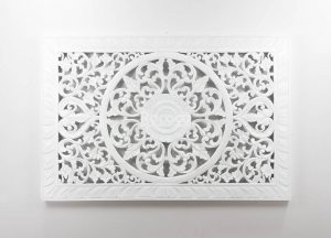 Espejo de pared decorativo Decowall Square Blanco de 150cm.