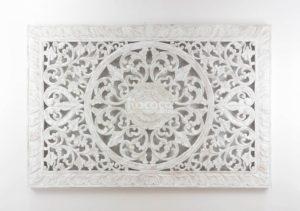 Espejo de pared decorativo Decowall Square Blanco (envejecido) de 150cm.