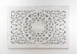 Espejo de pared decorativo Decowall Square Blanco (envejecido) de 150cm.