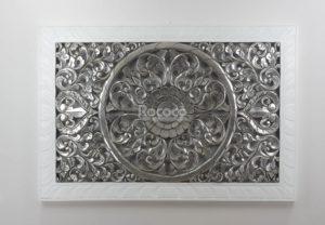 Espejo de pared decorativo Decowall Square Plata (envejecida) de 150cm.