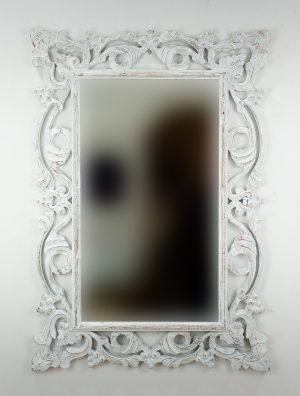 Espejo de pared decorativo Gada Warta Blanco (envejecido) de 100cm.