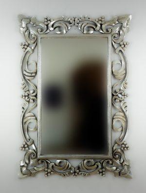 Espejo de pared decorativo Gada Warta Plata (envejecida) de 100cm.