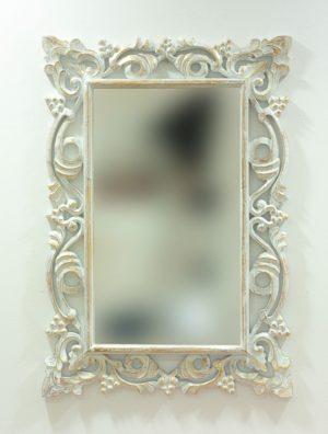 Espejo decorativo de madera Gada Warta de 100x70 en blanco y pan de oro
