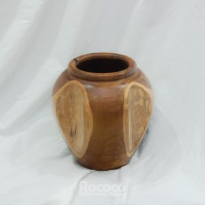 Ánfora artesanal de madera de teca de 30x30