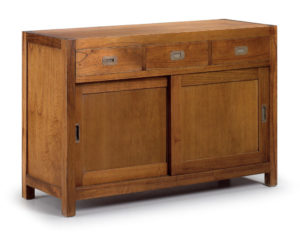 Buffet de madera 3 cajones y 2 puertas correderas