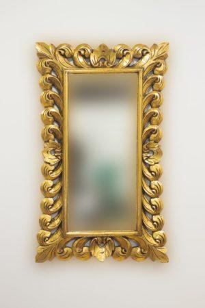 Espejo decorativo de madera Bolong Kadek de 60x100cm en oro envejecido
